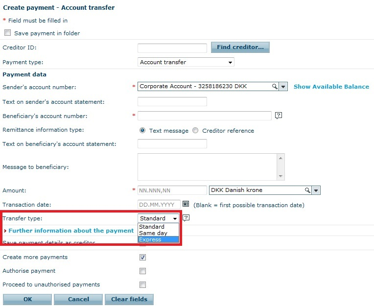 In Business Online You Can Choose To Make An Express Transfer When Create A Danish Account Or Nemkonto Payment